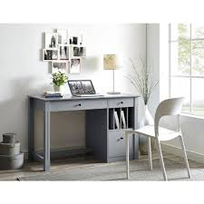 Wood desks for home office Oval Walker Edison Furniture Company Home Office Deluxe Grey Wood Storage Computer Desk The Home Depot Walker Edison Furniture Company Home Office Deluxe Grey Wood Storage