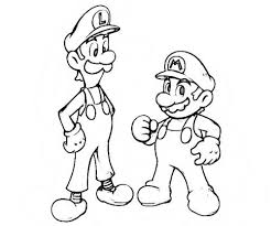 Kleurplaat Mario Bros En Luigi Nintendo Dibujos Para Colorear