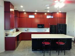 Black And Red Kitchen Red Kitchen Cabinets With Black Countertops A Lively Energy In
