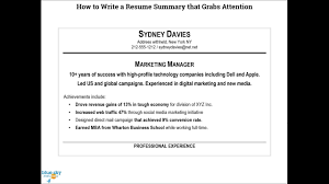 A Summary For A Resumes How To Write A Resume Summary