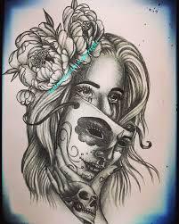 Santa Muerte Mask Tattoo Design Tattoodesign Tattoodesigns