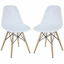 set of 2 pyramid modern molded plastic side chairs w wood legs white