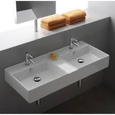 wall mount double sink. Bathroom Sink Scarabeo 8035 Rectangular White Ceramic Wall Mounted Or Vessel Double Intended Mount