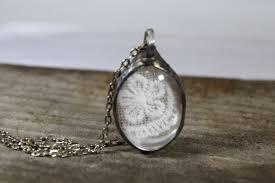 bohemian jewelry clear glass vintage lace oval glass nostalgic vintage retro wedding beadwork statement pendant necklace