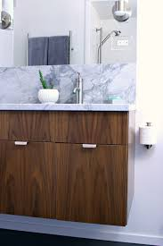 mid century modern bathroom vanity. Mid-Century Modern Inspired Bathroom Renovation, Before + After - Floating Walnut Vanity, Mid Century Vanity