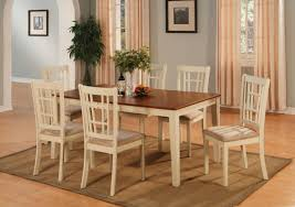 nicoli dining set table with 6 cushion seat chairs in ermilk saddle brown