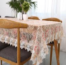 light coffee fresh translucent glass yarn table cloth lace embroidered tea table cloth home decoration transpa tablecloth round table linen red round
