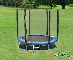 pvc padding and includes a full external safety enclosure this trampoline has a high upper weight limit of 50kgs it sits 45cm from the ground