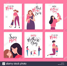 Happy Mothers Day Greeting Card Set Of Cute Mother