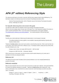 apa format 6th edition exle resume