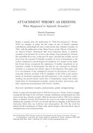 attachment theory as defense what happened to infantile sexuality  attachment theory as defense what happened to infantile sexuality pdf available
