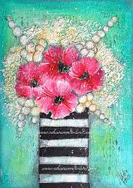 mixed media flowers tutorial the background 25x23cm canvas