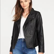 Old Navy Faux Black Leather Jacket Size Small Nwt