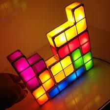 tetris diy led desk lamp constructible retro game style stackable tetromino led light