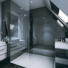 showers with tile walls. bathroom clad with tile wall panel range (brick, bevelled, black) showers walls l