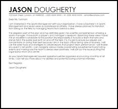 Sports Management Cover Letters Sports Manager Cover Letter Sample Cover Letter Templates