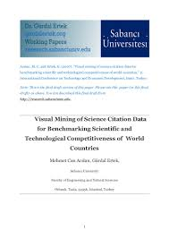 Visual Mining Of Science Citation Data For Benchmarking Scientific An