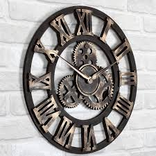 vintage interior design with large metal wall clocks