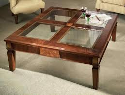 genial glass coffee table plus square shape also wooden legs glass in square shape in wooden