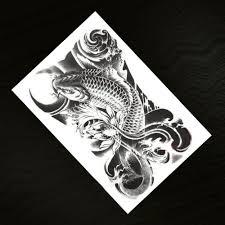 временная татуировка мужская водонепроницаемая рыба черная рыба искусственные