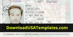 Us Passport Template Psd Download Usa Templates Drivers License Passport