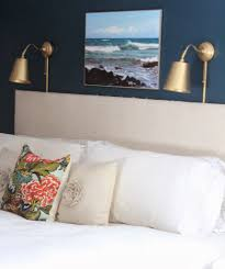 wall lighting bedroom. I Really Like A Mix Of Metals So While The Wall Lights Are In Same Antique Brass Family As Headboard Nailheads And Curtain Rods, Lighting Bedroom