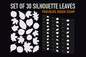 Silhouette Leaves Stamp Brush Procreate Graphic By Duckyjudy Creative Fabrica