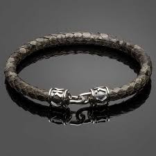 grey python leather bracelet with signature silver clasp dl5