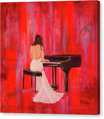 woman playing piano canvas print a love by jeanette sthamann