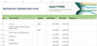 Gantt Chart For Restaurant Restaurant Marketing Plan Free Download Excel Template