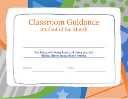 Student Of The Month Certificates Classroom Guidance Student Of The Month Certificate Tpt