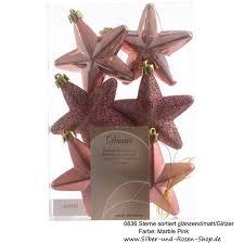 Christbaumschmuck Sterne Marble Pink 6 Stück Sortiert
