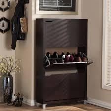 Baxton Studio Simms Wood Modern Shoe Cabinet in Dark Brown