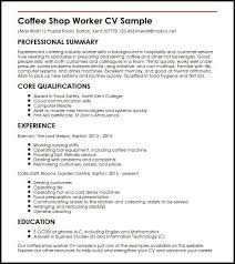 Coffee Shop Manager Resume Sample Professional Letter Formats