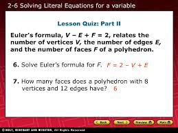 2 6 solving literal equations for a variable