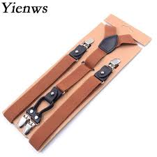 Yienws Brown <b>Suspenders for Men 4 Clip</b> Y back Pant <b>Suspenders</b> ...