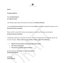 sle notice letter to landlord for