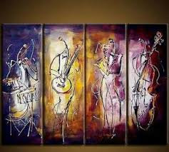 >4 piece wall art music player painting extra large art abstract  4 piece wall art music player painting extra large art abstract wall art