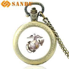 new fashion united states marine corps bronze quartz pocket watch vintage men women army pendant necklace marine corps pendant