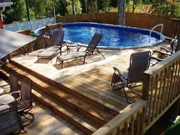 backyard designs. Architecture:Natural Backyard Design With Oval Pool Plus Wood Above Ground Deck Feat Dark Designs