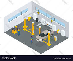 Auto Shop Building Designs Auto Mechanic Service Service Station Flat Icons