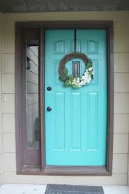 turquoise front doorFront Door Refresh Paint It Turquoise Entryway Makeover Part 1