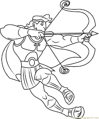 Small Picture Hercules Ready to Fight with Bow and Arrow Coloring Page Free