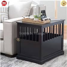pet bed furniture. Large Wood Dog Crate End Table Indoor Kennel Cage Pet Bed Furniture House Black B