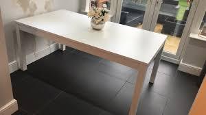white ikea bjursta extendable dining table