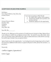 Acceptance Letter For Offer Job Offer Thank You Letter Example Mail For Email Reply No