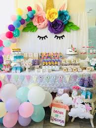 What a <b>dreamy Unicorn</b> birthday party! The balloon garland and ...