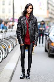 women s black leather jacket red polka dot on down blouse black leather leggings