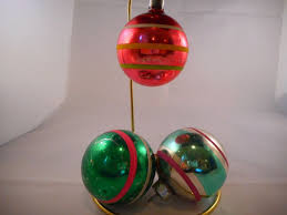 details about set of 3 vintage mercury glass ornaments stripes green pink