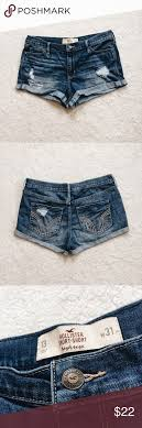 Hollister Jeans Waist Size Chart Distressed High Rise Short Shorts Good Condition Hollister